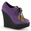 CREEPER-304 Purple Vegan Suede/Leopard